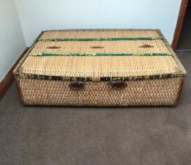 Vintage Wicker & Canvas Travel Case