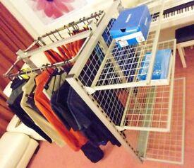 11 Piece Halo Metal Shop Clothing Rail & Shelf Storage Display Unit (3 Shelves)