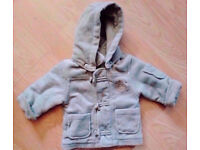 Unisex Khaki Fleece Zipped Duffle Coat with Removable Hood [Age 3-6 Months].