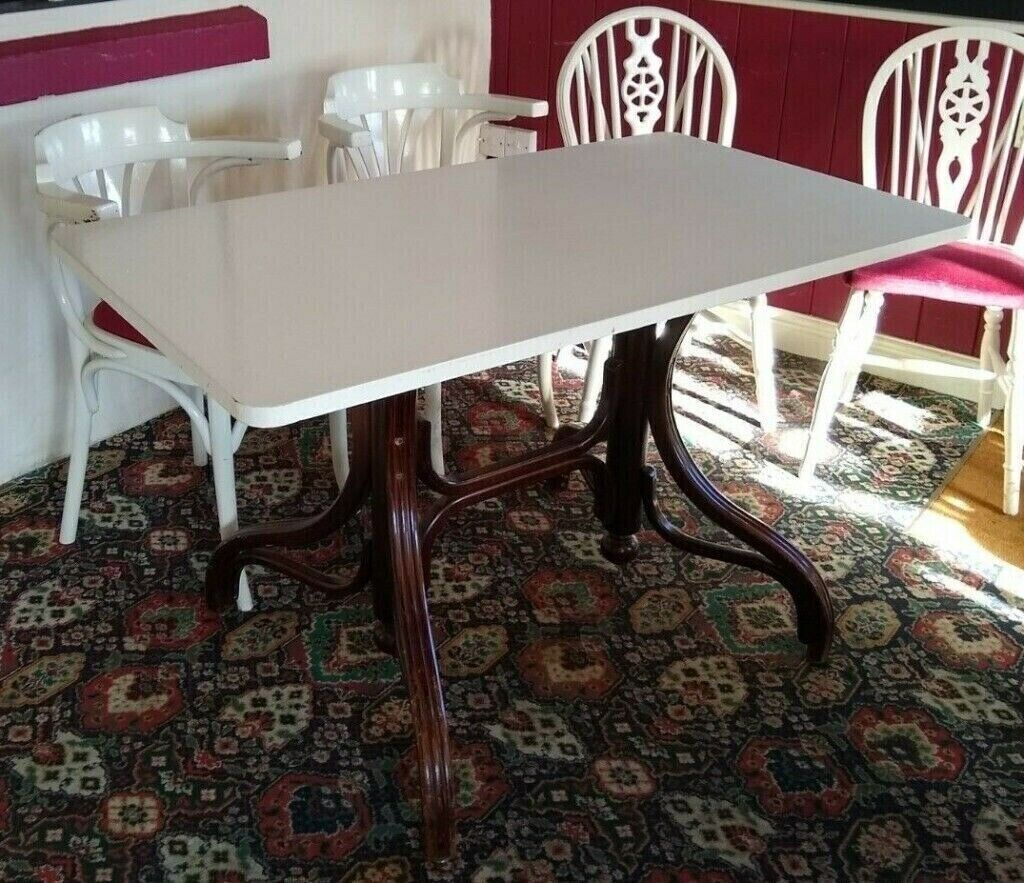 Rectangle pub wooden cafe restaurant dining kitchen table