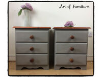 Pine Rustic Farmhouse Bedside Tables Hand Painted in ANNIE SLOAN French Linen Chalk Paint Upcycled.
