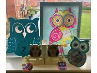 Clock, photo frame, wall hanging and book ends decoration set. Owl themed
