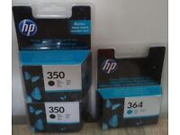 2x HP 350 Black + HP 364 Cyan printer ink cartridge - original, official, genuine Hewlett Packard