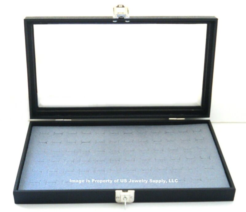 Key Lock Locking Glass Top Lid 72 Ring Grey Jewelry Display Box Storage Case