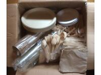 Disposable cutlery, cups and crockery