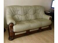 3 Piece Italian Leather & Solid Oak Suite