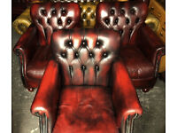 Thomas LLoyd Oxblood leather club chairs...3 available