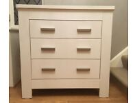 Used, in good condition, quality John Lewis 3 drawer chest of drawers, painted white