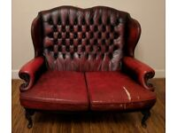 Oxblood Leather Chesterfield 2 Seater Sofa