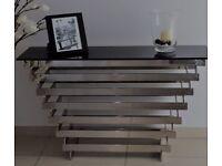 Beautiful chrome & glass side table, good condition : 70cm Height X 128cm Length X 40cm Width