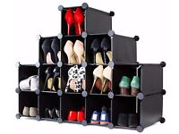 Interlocking 16 Pairs Compartments Cube Shoe Organiser Rack Storage Display Stand