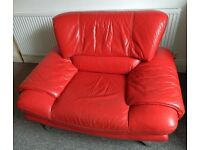 Retro style, sofa-armchair, red leather