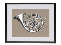 Framed Contemporary Fine Art French Horn Print