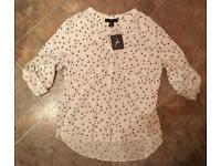 NEW Atmosphere Swallow Bird Print 3/4 Sleeve Shirt/Blouse/Top Size 8