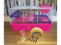 Pink and purple two level hamster cage - VGC + extras