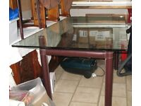 Glass and Leather Dining Table and Chairs