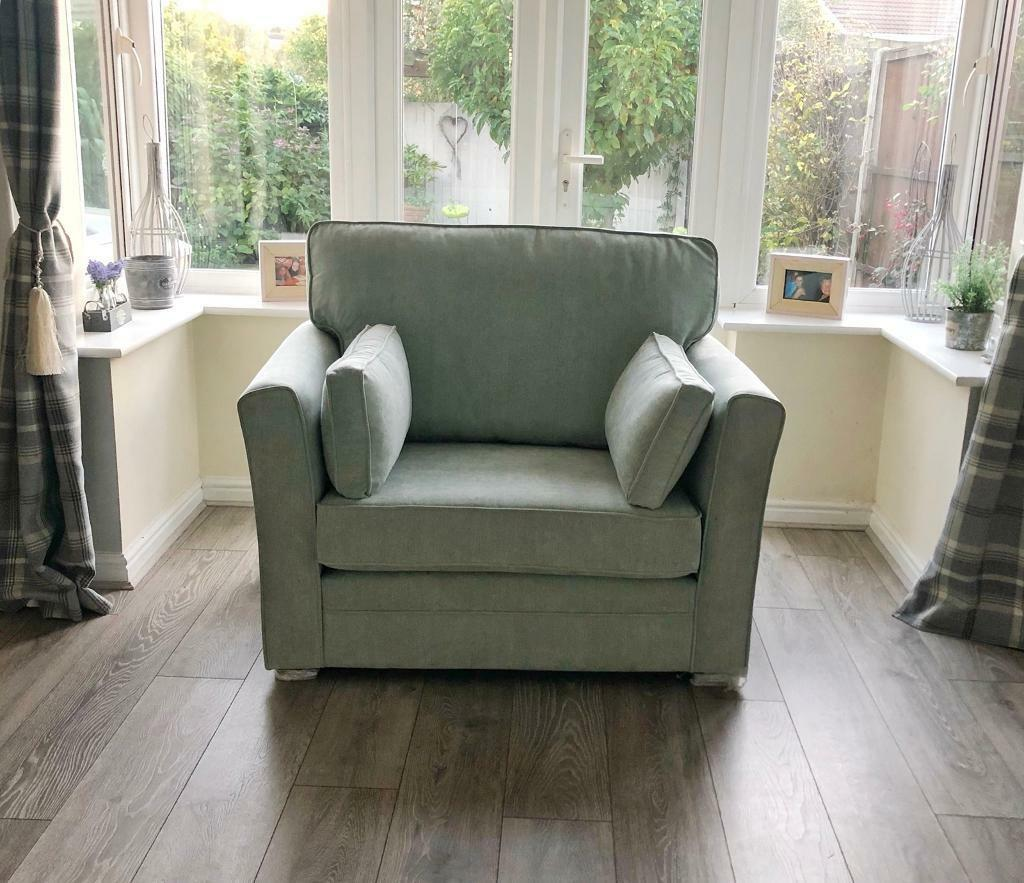 Brand New Snuggle Cuddler Armchair In Duck Egg Blue In
