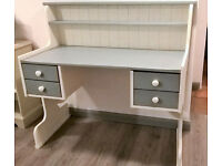 Large pine computer desk with drawers
