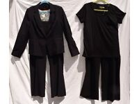 "Ladies Black Formal Suit: New Look Jacket C44"" & Top C42"" & x2 Pairs of Trousers W36"" & W40"" BNWT"