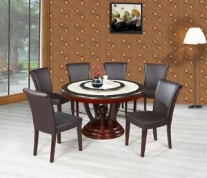 7pcs Real Marble Top Dining Set with Cherry Base (ME223)
