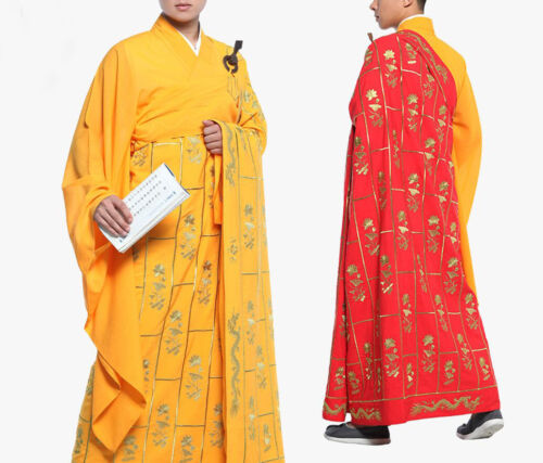 embroidery flower Buddha buddhist shaolin monk suits zen lay cassock kesa robe