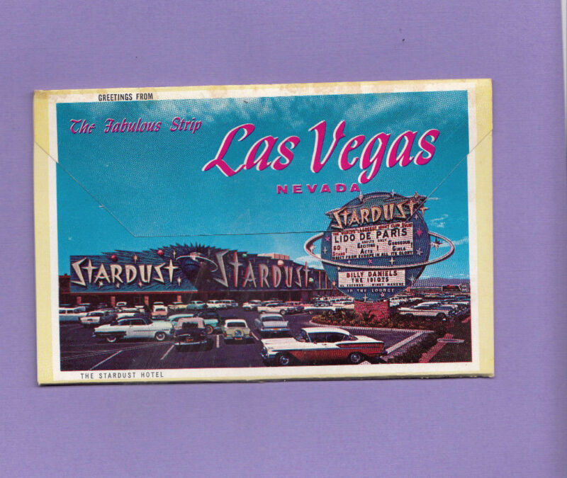 Fold Out Vintage Postcard Greetings from The Fabulous Strip Las Vegas, NV 1962