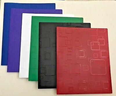 6 Embossed  Cubic 2 Pocket Poly Portfolio Office, School, Home- USA SELLER