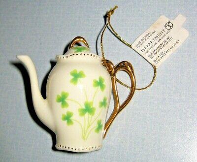 New Miniature Teapot 3 Leaf Clover Christmas Tree Ornament Department 56 Rare