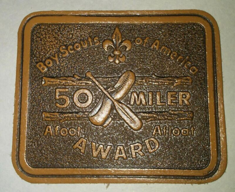 Boys Scouts Of America Vintage 50 Miler Leather Patch
