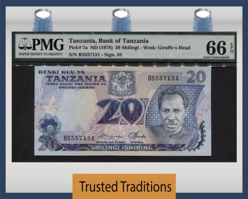 """TT PK 7a 1978 TANZANIA 20 SHILINGI """"PRESIDENT J. NYERERE"""" PMG 66 EPQ GEM UNC!"""