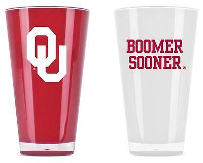 Oklahoma Sooners Tumblers - Set of 2 20oz Glass [NEW] Tumbler Coffee Cup Oklahoma Sooners Glass
