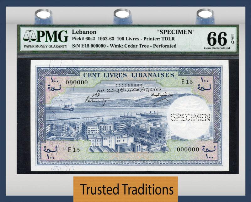"""TT PK 60s2 1952-63 LEBANON 100 LIVRES """"SPECIMEN BANKNOTE"""" PMG 66 EPQ GEM POP ONE"""