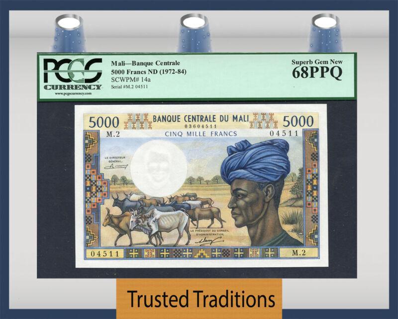 Tt Pk 14a 1972-84 Mali Banque Centrale 5000 Francs Pcgs 68 Ppq Superb Top Pop!