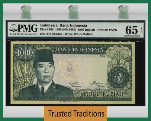 "TT PK 88b 1960 INDONESIA 1000 RUPIAH ""PRESIDENT SUKARNO"" PMG 65 EPQ GEM UNC."