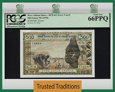 Tt Pk 102Am West African States Ivory Coast 500 Francs Pcgs 66 Ppq Finest Known
