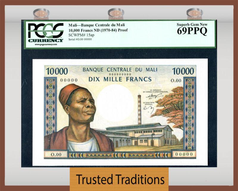 Tt Pk 15ap 1970-84 Mali Banque Centrale 10000 Francs Pcgs 69 Ppq Unimprovable