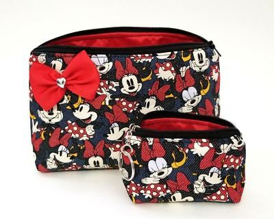 Minnie Mouse makeup bag. Red bow. Travel. Black Heart mini Coin Purse keychain Bow Cosmetic Bag Handbag