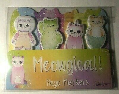 100 Sticky Tabs - Meowgical 4 Cat Designs Page - Book - Magazine Markers -