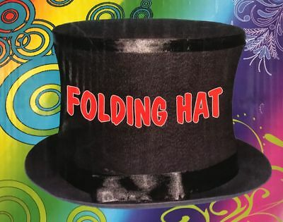 JUNIOR FOLDING BLACK TOP HAT Collapsible Magician Costume Spring Pops Up Open Jr