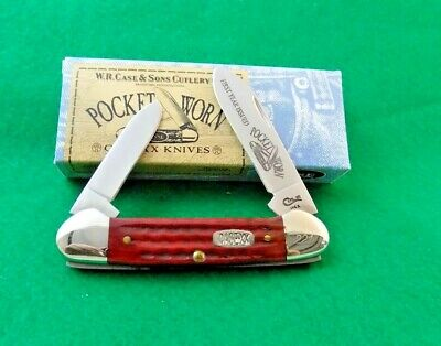 2000 CASE XX POCKET WORN OLD RED BONE CALENDAR SERIES CANOE KNIFE; NR