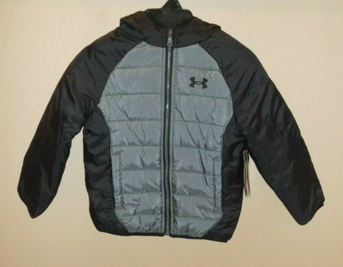 Under Armour Boys Size 4 Puffer Winter Coat Jacket Black Grey New Hooded