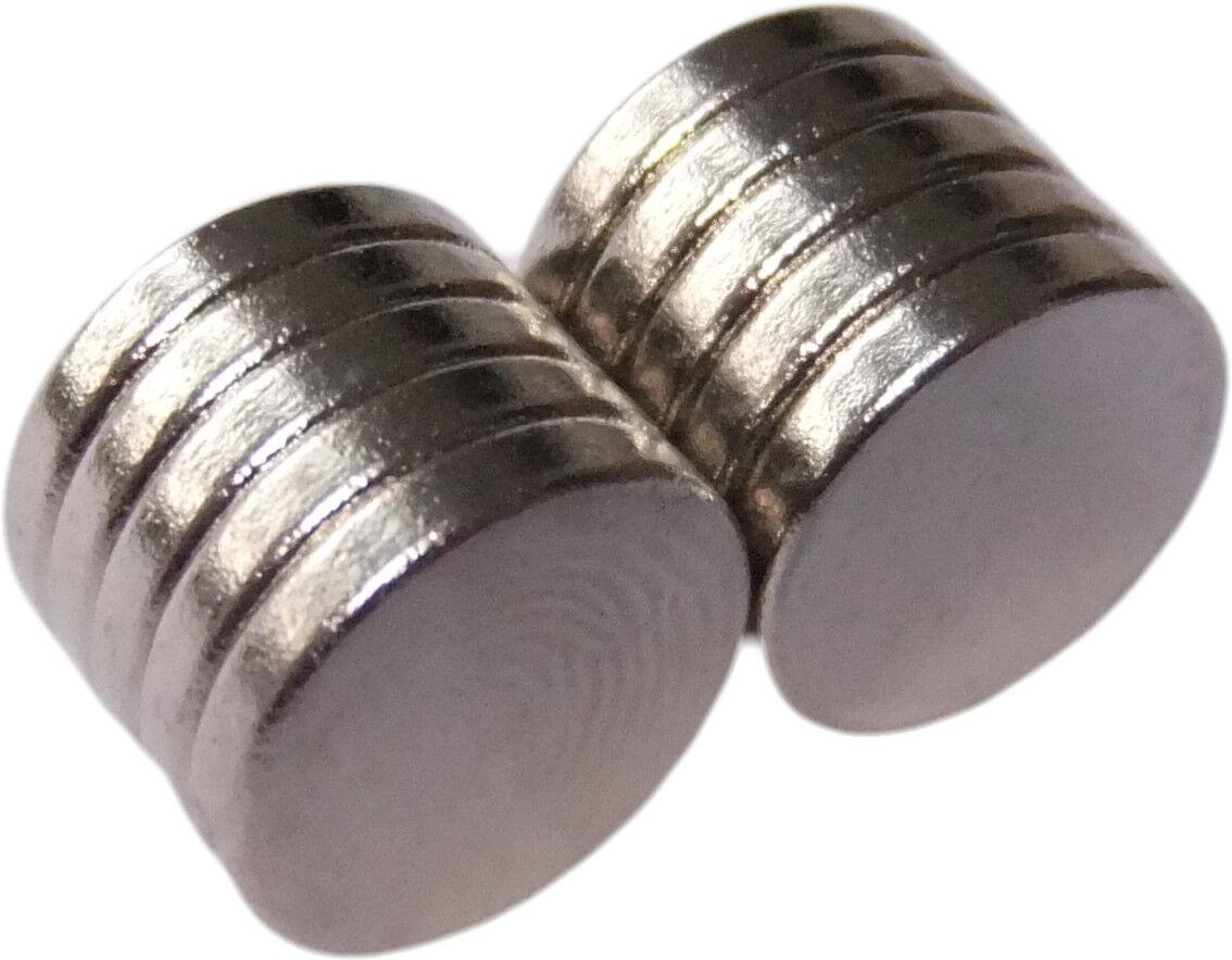 Neodym Magnete super stark Scheiben Würfel N35 N45 N50 doppelt vernickelt Scheibe - Ø 12 X 2mm