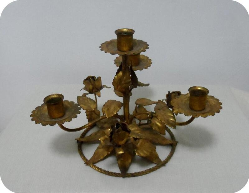 ANTIQUE VTG ITALIAN GOLD METAL TOLE ROSES CANDLE HOLDER GIRANDOLE CANDELABRA