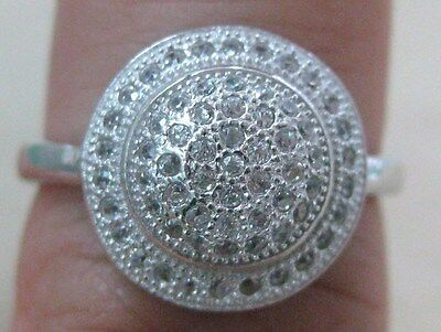 UNDER $20 – 925 Sterling Silver Microsetting Round Dome Cz Women Ring Sz L P R