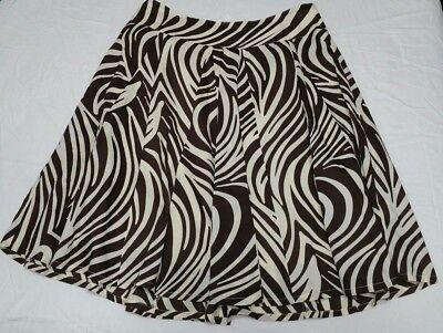 Christopher & Banks Size 4 Brown Cream Zebra Animal Print Stripes Lined Skirt Brown Zebra Stripe