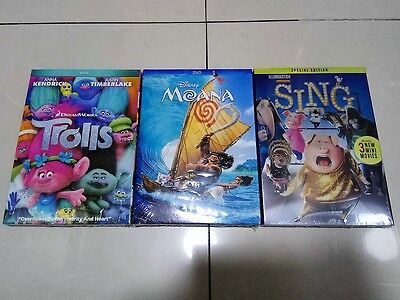 Moana  Trolls  Sing  Dvd  3 Movies Collection  New   Free Shipping