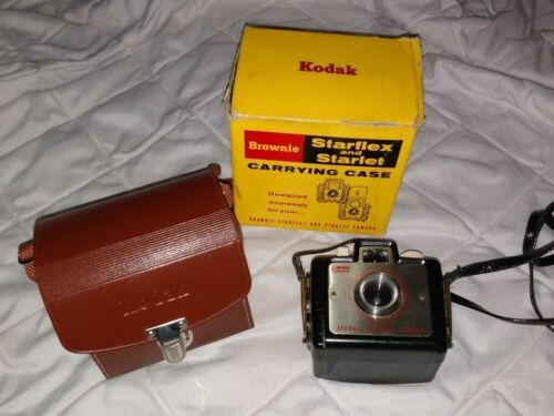 Vintage Kodak Brownie Bullet Camera with Leather Starflex Starlet Case and Box