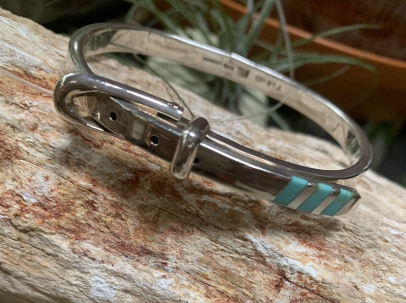 925 Mexico Sterling Silver Buckle Bangle Bracelet Adjustable Turquoise Signed
