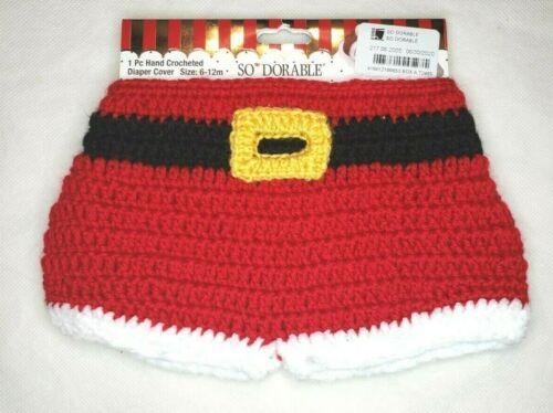 So Dorable Santa Claus Diaper Cover 6-12M Hand Crocheted Christmas Xmas Winter
