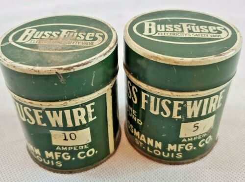 2 VTG Cans Of Buss Fuses Wire 5 &10 AMP